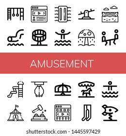 Set of amusement icons such as Monkey bars, Waterpark, Carousel, Round up ride, Inflatable, Seesaw, Water park, Banana boat, Circus tent, Claw machine, Whack a mole , amusement