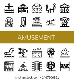 Set of amusement icons such as Waterpark, Clown, Playground, Leotard, Water park, Seesaw, Merry go round, Carousel, Spring swing rocket, Circus tent, Banana boat, Inflatable , amusement