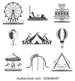 Set of amusement park monochrome icons, design elements isolated on white background
