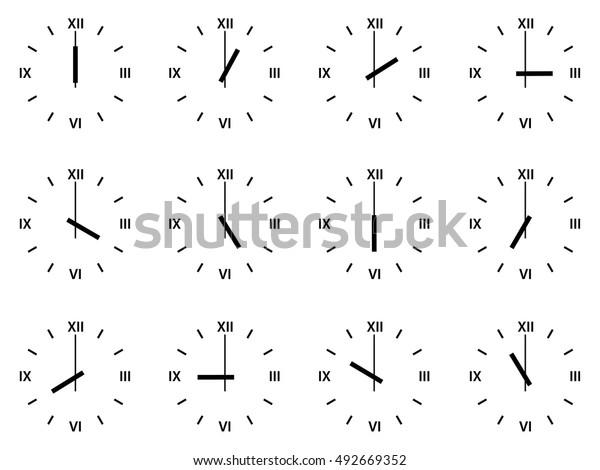 Set Analog Clock Icons Roman Numerals Stock Vector (Royalty