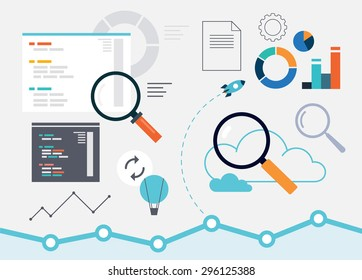Set of analytics flat web design elements