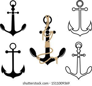 Set of Anchor icon isolated on white background.