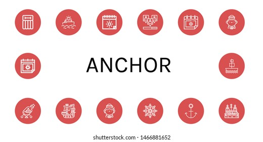 Set of anchor icons such as Airbed, Yatch, Summer, Viral, Sailor, Ship in a bottle, Pirate ship, Helm, Anchor, Galleon , anchor