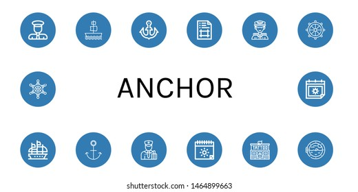 Set of anchor icons such as Captain, Galleon, Anchor, Artboard, Helm, Customs, Summer, Tattoo studio, Boat porthole , anchor