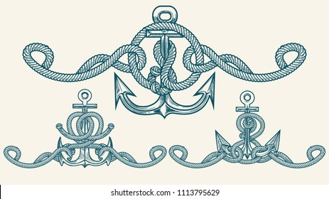 Set of Anchor with Marine ropes drawn in Retro style. Vector Illustration.