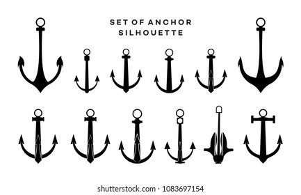 Set of Anchor silhouette vector illustration
