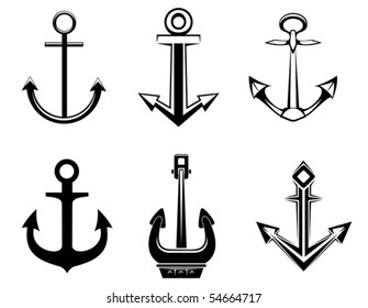 Set of anchor symbols or logo template. Bitmap version also available in gallery
