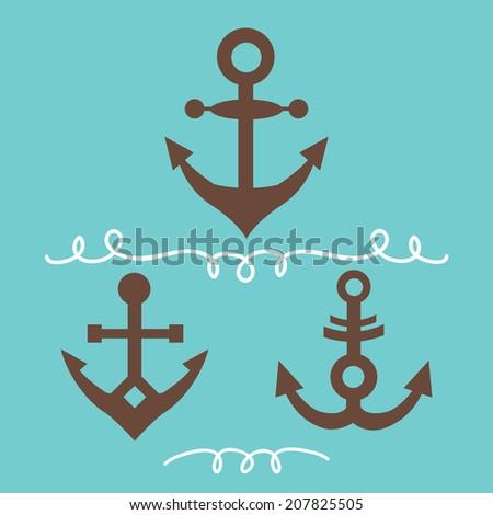 Set Anchor Symbols Logo Template Vector Stock Vector Royalty Free
