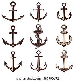 Set of the anchors. Design element for logo, label, emblem, sign. Vector illustration.