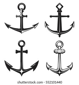 Set of anchors icons isolated on white background. Vector illustration