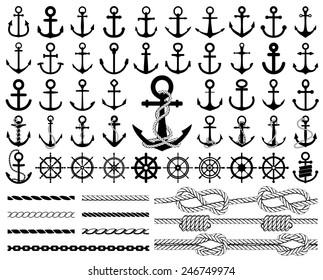 Satz von Ankern, Rudern, Symbolen und Seilen. Vektorgrafik.