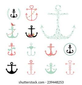 Set of Anchors Symbols on White Background