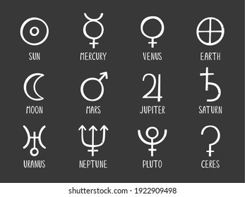 Set of ancient astrological symbols of the solar system planets. Sun, Mercury, Venus, Earth, Moon, Mars, Jupiter, Saturn, Uranus, Neptune, Pluto and Ceres. Vector hand drawn illustration