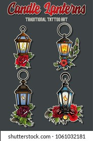 Set of Ancient Candle Lanterns. Traditional Tattoo Art