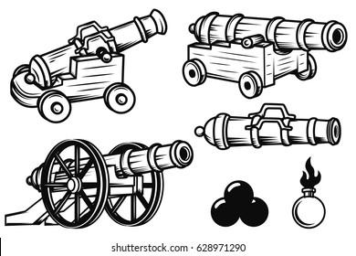 Set of ancient cannons illustrations. Design elements for logo, label, emblem, sign, badge. Vector illustration