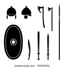 Set of ancient celtic weapon and protective equipment. Spear, sword, gladius, shield, axe, helmet. Warrior outfit Vector illustration