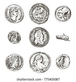 set ancient coins or money. roman and greek cash reward. engraved hand drawn in old sketch, vintage style.