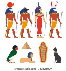 Set of ancient Egypt gods, symbols and characters, flat vector illustration isolated on white background. Egypt symbols - Ra, Anubis, Horus, Isis gods, Bastet, Harpy, sphinx, pyramid and sarcophagus