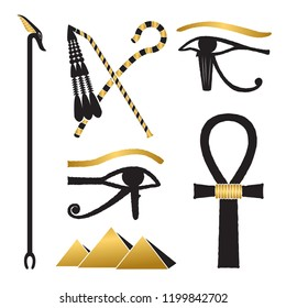 Set of ancient egypt silhouettes - The Crook and Flail, was-scepter, eye of horus and pyramids