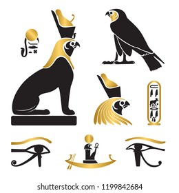 Set of ancient egypt silhouettes - Eye of Horus, Horus as lion and falcon, solar barge and cartouche