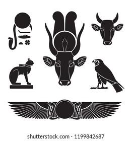 Set of ancient egypt silhouettes - Eye of Ra, Horus as falcon, Bastet as cat, Hathor as cow