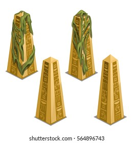Set of ancient egyptian golden obelisks of temple with hieroglyphs isolated on white background. Vector illustration close-up.