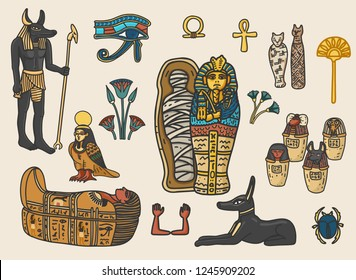 Set of ancient egyptian religion and cultural elements including sarcophagus, eye of horus, mummy, scarab, anubis, canopic jars; ka; ba; floral decoration elements. Isolated vector illustration.