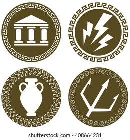 Set of ancient flat logos with temple, Zeus lightning, amphora and trident of Poseidon. The symbols of antiquity and Greece. Greek history and mythology