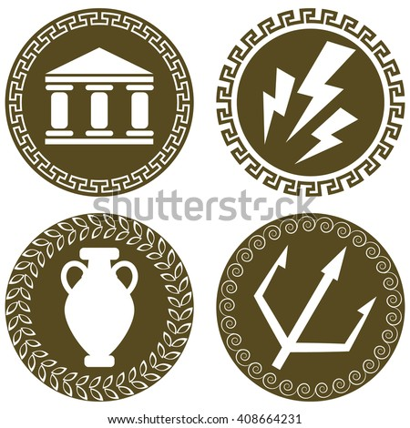 Set Ancient Flat Logos Temple Zeus Stock Vector Royalty Free