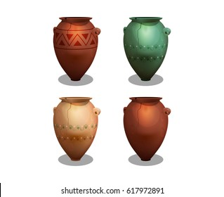 Set of ancient greek amphora isolated on white background. Vector illustration.