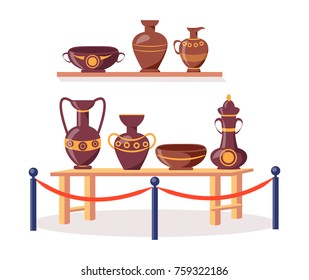Set of ancient Greek pottery on wooden shelf and short table fenced off by metal railing stand with red rope isolated vector illustration on white