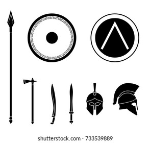 Set of ancient greek spartan weapon and protective equipment. Spear, sword, gladius, shield, axe, helmet. Warrior outfit Vector illustration
