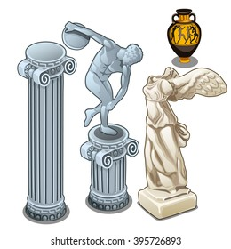 A set of ancient Greek statues and pottery. Vector illustration.
