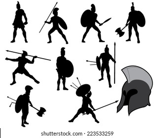 Set of Ancient Greek Warriors Silhouettes. Vector Image