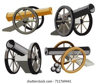 Set of ancient guns on a white background. Vintage cannons of artillery. Vector illustration