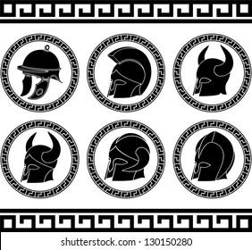 set of ancient helmets. vector illustration