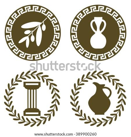 Set Ancient Logos Olive Branch Amphora Stock Vector Royalty Free