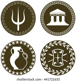 Set of ancient logos with temple, amphora and jug, trident of Poseidon, shield and spears. The symbols of antiquity and Greece. Greek history and mythology