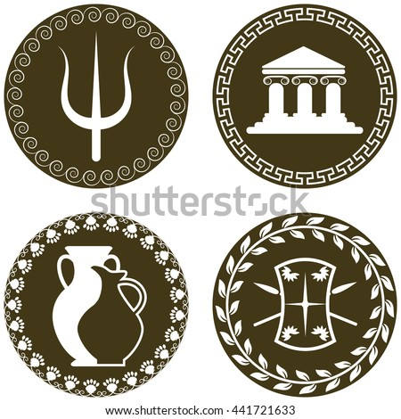 Set Ancient Logos Temple Amphora Jug Stock Vector Royalty Free