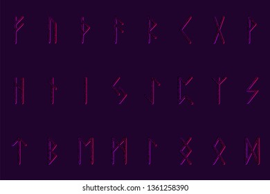 Set of ancient Norse runes. Runic alphabet, Futhark. Ancient occult symbols. Vector illustration. Old Germanic letters. Ornament, pattern. Black background. Red ornament