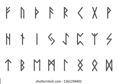 Set of ancient Norse runes. Runic alphabet, Futhark. Ancient occult symbols. Vector illustration. Old Germanic letters. Ornament, pattern. White background.