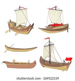set of ancient ships drawing
