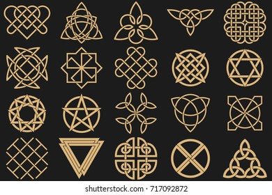 Set of ancient symbols executed in Celtic style. Secret signs, knots, interlacings. Concept of secret and origin of mankind. Mascots, charms executed in the form of logos. Magic signs. Vector