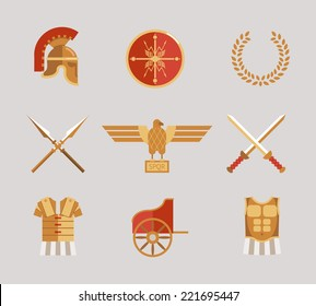 Set of ancient warrior vector accessories with a helmet  spears  swords  wreath  tunic  breastplate  shield and eagle in red and gold