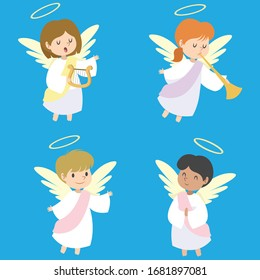 Set of the angel vector. Angel avatar. Vector illustration EPS10.
