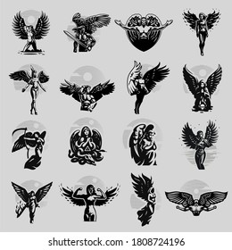 A set of angels, man and woman, in different poses. Vector illustration.