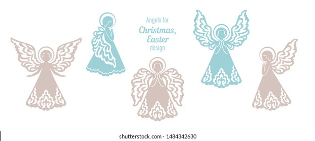 Set of angels patterned in same style ornament. Vector concept for wood carving, laser paper cutting, Baptism, Christmas and Easter decorations. Beautiful isolated applique on a white background.