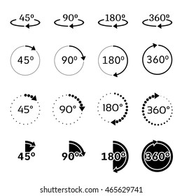 Set of angles 45, 90, 180 and 360 degrees icons. Rotation degree 90. Vector illustration