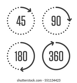 Set of angles 45, 90, 180 and 360 degrees icons. Arrows rotation circle symbol set. Geometry math signs symbols. Full complete rotation arrow.
