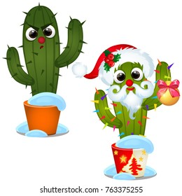 Set angry cactus and decorated with Christmas baubles isolated on a white background. Sketch of festive poster, party invitation, other holiday card. Vector cartoon close-up illustration.